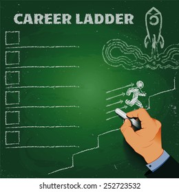 career ladder chalk on a blackboard business concept EPS10
