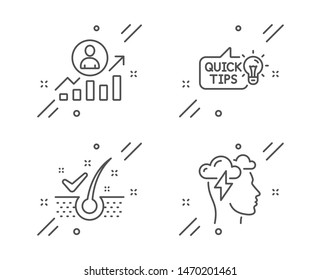 Career ladder, Education idea and Anti-dandruff flakes line icons set. Mindfulness stress sign. Manager results, Quick tips, Healthy hair. Cloud storm. Science set. Vector