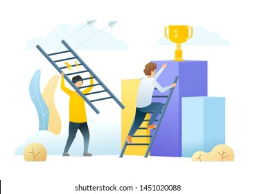 Career ladder metaphor flat vector illustration. Rival businessmen, office workers cartoon characters. Business competition, ambitious colleagues rivalry. Success achievement, job promotion.