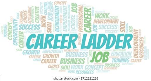 Career Ladder typography vector word cloud.
