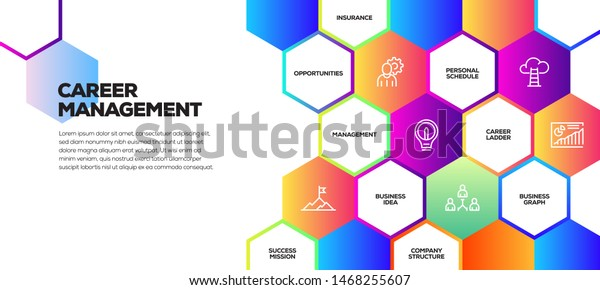Career Management Infographic Six Icons Nine Stock Vector