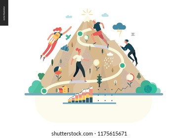 career -modern flat vector illustration concept of career - people climbing the mountain. Climbing up the career ladder process metaphor Creative landing page design template