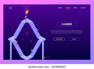 Career - modern isometric vector landing page template on purple background with copy space for text. High quality website header with business people climbing up staircase trying to reach the goal