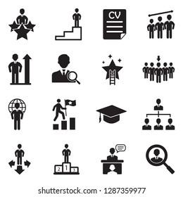 Career Path Icons. Black Flat Design. Vector Illustration.