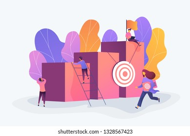 Career and personality development, careerbuilder, career planning progress concept on white background. Vector isolated concept illustration. 3D liquid design with floral elements.