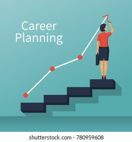 Career planning. Businesswoman draws graph of growth standing at stairs steps. Concept of career growth. Vector illustration flat design. Isolated on background.
