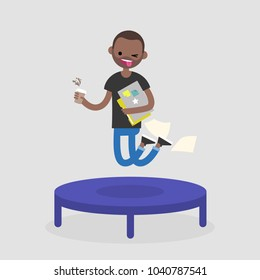 Career promotion. Cheerful black employee jumping on the trampoline. Business concept. Modern young adults. Success. Flat editable vector illustration, clip art