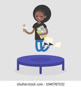 Career promotion. Cheerful employee jumping on the trampoline. Business concept. Modern young adults. Success. Flat editable vector illustration, clip art