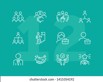 Career promotion line icon set. Candidate, selection, interview. Human resource concept. Can be used for topics like employment, corporate hierarchy, recruitment