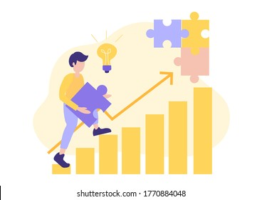 career rise to success, building money profit growth. vector illustration