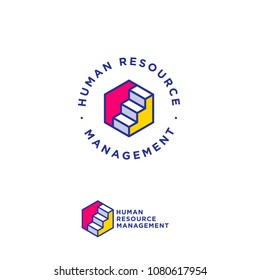 Career services logo. Human resources management. Stairs up on hexagon, success and growth in business.
