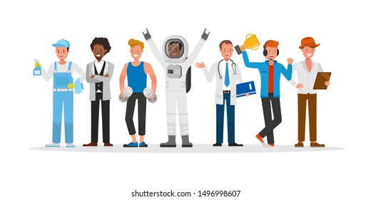 career staff character vector design include janitor, businessman, gamer, fitness trainer, astronaut and doctor.