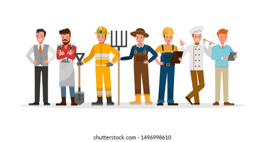 career staff character vector design include farmer, businessman, barber, firefighter, builder and chef.