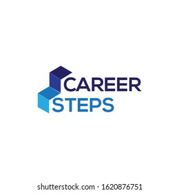 career steps logo with stairs illustration