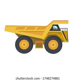 Career truck in flat style on a white background. Professional equipment for diamond mining in quarries. Vector illustration. Super powerful car, supersize, career dump truck.