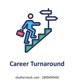Career, career turnaround outline with color fill inside Isolated Vector icon which can easily modify or edit