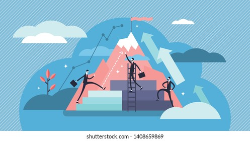 Career vector illustration. Flat tiny work growth progress persons concept. Successful company employment motivation and challenge. Abstract confident personal development and promotion improvement.