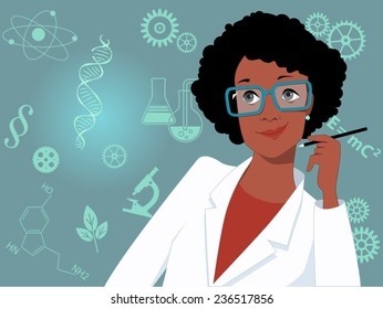 Career for women in science and technology. Portrait of a woman in a lab coat, scientific symbols on the background, vector illustration, no transparencies