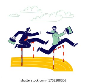 Careerist Chase, Business People Characters Social Climbers Running Competition. Businessmen Holding Briefcases in Hands Jump over Barriers. Leadership Successful Colleague. Linear Vector Illustration