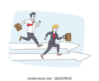 Careerist Chase, Business People Characters Social Climbers Running Competition. Businesspeople Hold Briefcase Run on Huge Arrows. Leadership, Successful Colleagues Sprint. Linear Vector Illustration