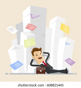 Carefree businessman have a rest close to piles of papers. Business concept - work with documentation, workflow, bureaucracy. Vector, illustration, flat