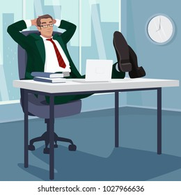 Carefree businessman or manager relaxed in workplace. Man sleeps at table in modern office. Break or Siesta concept. Simplistic realistic style. Vector illustration