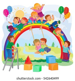 Carefree young children playing on the rainbow