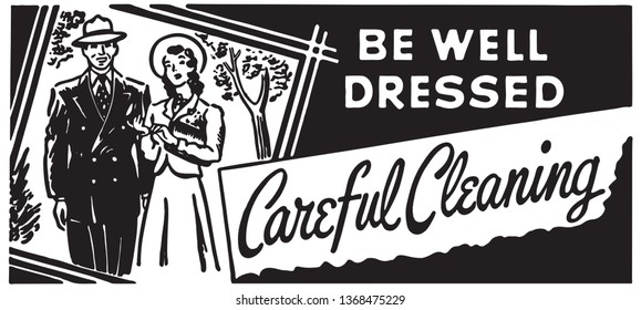 Careful Cleaning - Retro Ad Art Banner