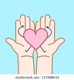 Carefully holding heart in two hands. Vector concept illustration of taking care about heart | flat design linear infographic icon on v blue background