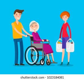 Caregiver, volunteerism. Nursing or care of patients concept. Cartoon vector illustration