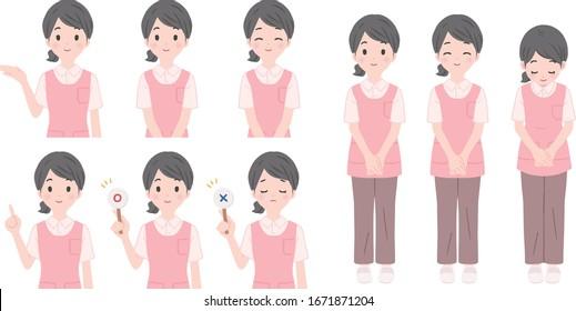 Caregiver woman illustration pose set