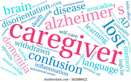 Caregiver word cloud on a white background.