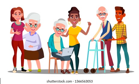 Caregivers, Volunteers, Grandparents, Grandkids Vector Cartoon Characters. Young Caregivers, Students, Teenagers Helping Elderly People. Senior Man, Woman with Children. Age Gap Flat Illustration