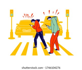 Careless Characters Using Smartphone while Crossing City Road Ignoring Traffic Light and Cars Signaling. Human Carelessness Concept, Danger on Road, Harmful Gadget Impact. Linear Vector Illustration
