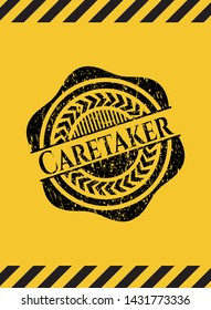 Caretaker black grunge emblem with yellow background. Vector Illustration. Detailed.
