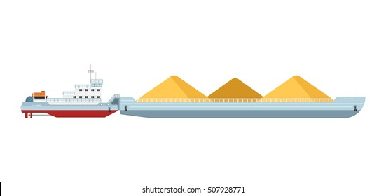 Cargo barge. Vector work boat or cargo barge moving sand illustration. Large ship vessel icon isolated on white background. Marine industrial water freight delivery transport. International shipment
