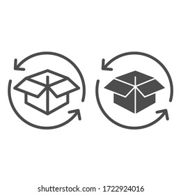Cargo box with arrows line and solid icon, delivery parcel and logistics freight symbol, Package return vector sign on white background, Distribution processing box with arrows icon outline. Vector