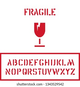 Cargo cardboard box fragile stamp with glass goblet icon and crate font for logistics or packaging. Means in need of protection from moisture. Vector illustration