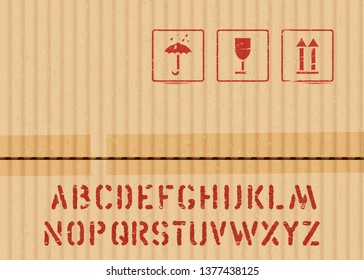 Cargo cardboard box icon stamp set: fragile, keep dry, top and crate font for logistics or packaging. Means in need of protection from moisture, cargo fragility, this way up. Vector illustration