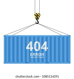 Cargo container isolated on white background. 404 error. Page not found template. Freight shipping container hanging on crane hook. Colorful simple realistic design. Flat style vector illustration.