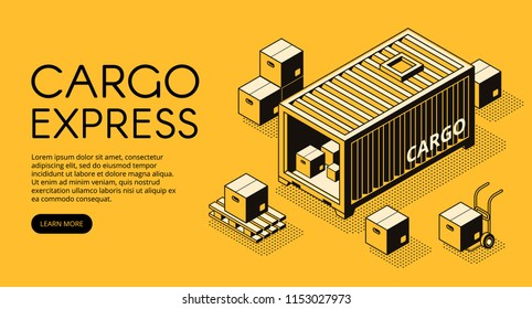 Cargo container logistics vector illustration of warehouse with parcel boxes unload on pallet for express delivery or freight shipping. Isometric black thin line art on yellow halftone background