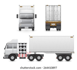 Cargo container on back trailer and towed by front tractor,  Cargo container or shipping container for shipment storage and transport goods product and raw material, Vector illustration design.
