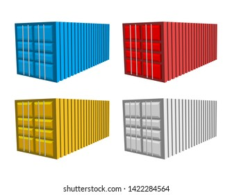 cargo container set, blue, red yellow and white color