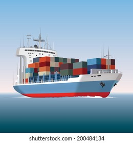 Cargo container ship sailing. Vector illustration