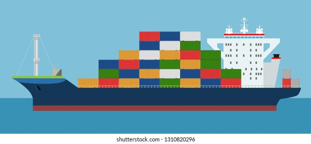 Cargo Container ship side view. Freight Transportation concept. High detailed vector illustration.