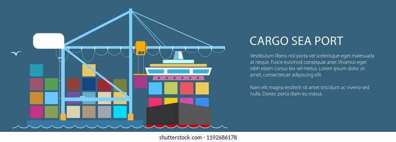 Cargo Container Ship and Text, Unloading Containers from a Cargo Ship in a Seaport with Crane, International Freight Transportation Banner, Vector Illustration