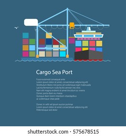 Cargo Container Ship and Text, Unloading Containers from a Cargo Ship in a Seaport with Crane, International Freight Transportation, Poster Brochure Flyer Design,Vector Illustration