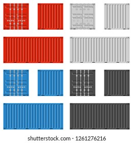 Cargo container for shipping in flat style. Red, blue, white and black colors. Front, Back and Side view. Transportation Container isolated on white background. Freight Shipping concept. Vector EPS 10