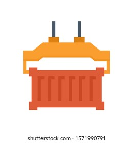 Cargo container or shipping container and spreader icon. Spreader is a device for lifting containers at harbour or port. That is a part of gantry, overhead, bridge and container crane. Vector icon.