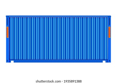 Cargo container for shipping and transportation work isolated on white background. Blue shipping container for shipment storage and transport goods product and raw material. Stock vector illustration